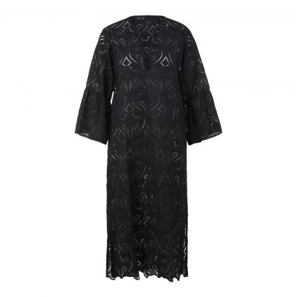 Kleid mit Loch-Stickerei schwarz (nero) | 38