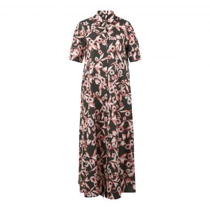 Langes Hemdblusenkleid mit floralem Muster oliv (militare)   38