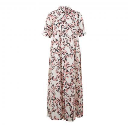 Langes Hemdblusenkleid mit floralem Muster weiss (panna) | 36