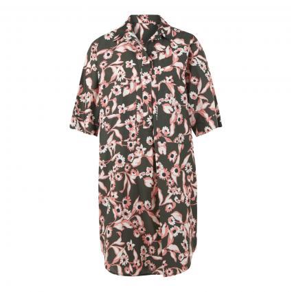 Hemdblusenkleid mit floralem Muster oliv (militare) | 36