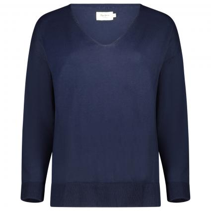Unifarbener Pullover mit V-Ausschnitt marine (583 THAMES)   M