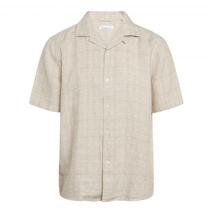 Leinenhemd 'Wave' mit Karomuster beige (1228 light feather grey)   XL