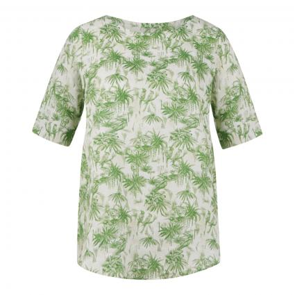 Kurzärmelige Bluse aus Leinen grün (1 grün) | 40