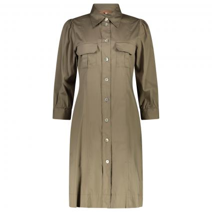 Leichtes Kleid mit aufgesetzten Taschen  oliv (158) | 38