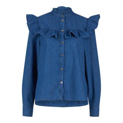 Bluse 'Avira' mit Rüschen blau (BLUE) | 40