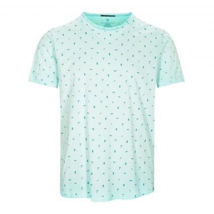 T-Shirt mit All-Over Druck türkis (Aqua)   XL
