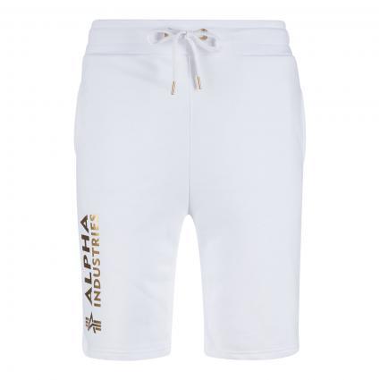 Basic Sweatshorts mit Logo Druck weiss (590 white gold) | XL