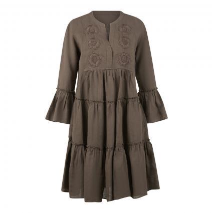 Leinenkleid 'Barbara' mit Stickerei und Rüschen oliv (440 khaki) | 44