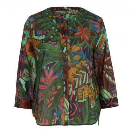 Bluse mit V-Ausschnitt und All-Over Druck grün (40607 grün braun) | 38