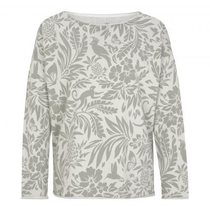 Sweatshirt mit All-Over Muster oliv (498 oak jungle)   XL