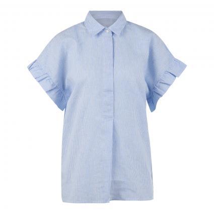 Kurzarmbluse 'Charlott' mit Rüschen-Details blau (0001 weiß bleu) | L