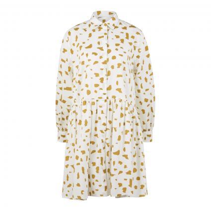 Hemdblusenkleid mit All-Over Druck weiss (FN1weiß erbse) | 34