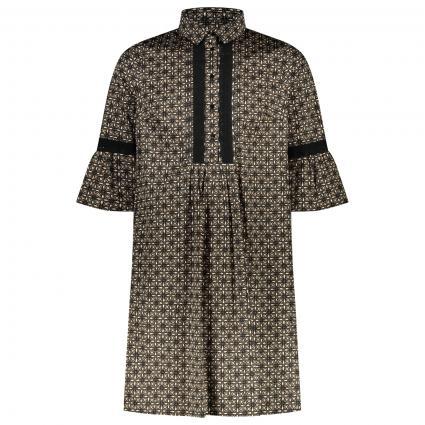Kleid mit spannendem All-Over Muster  schwarz (01 weiß) | 46