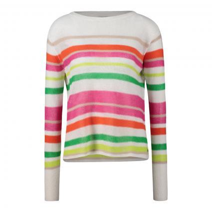 Pullover mit Streifenmuster ecru (102 offwhite+bunt)   XL