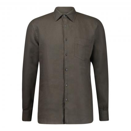 Regular-Fit Hemd aus Leinen oliv (85390 lt oliv) | 41