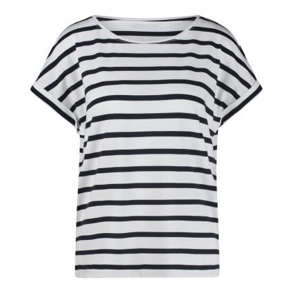 T-Shirt mit Streifenmuster marine (075 weiss marine) | L