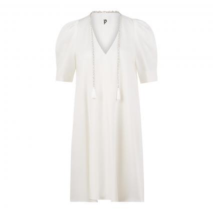 Kurzärmeliges Kleid mit Quasten weiss (001) | 34