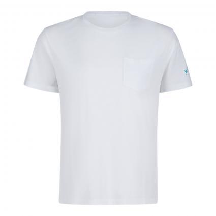 T-Shirt mit Brusttasche und Logo Druck weiss (001)   L