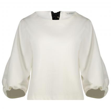 Halbarm Pullover mit Schleifendetail an Rücken weiss (WHITE) | XS