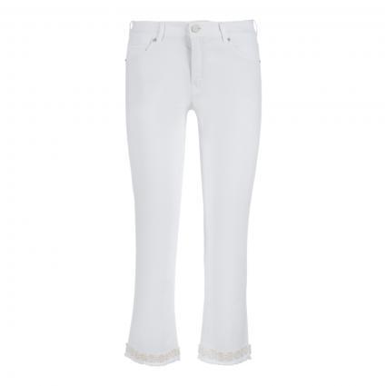 Cropped Jeans 'Vic' mit Zierblumen weiss (110 weiß)   42