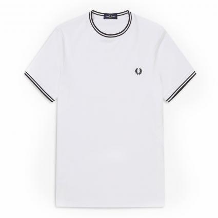 T-Shirt mit Rippbündchen weiss (100 white) | L