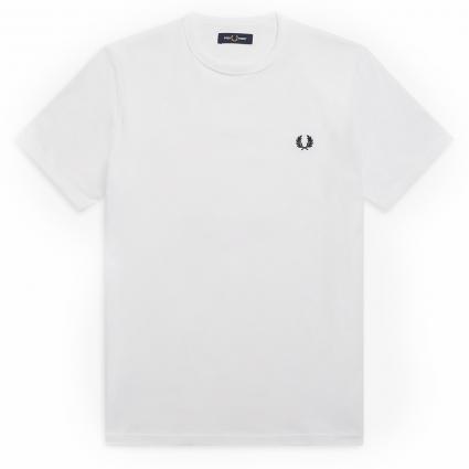 T-Shirt mit Label-Stickerei weiss (100 white) | XXL