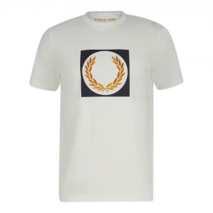 T-Shirt mit Logo-Stickerei ecru (129 snow white) | L
