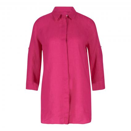 Lange Leinenbluse mit Krempelarm pink (10403 pink) | 40