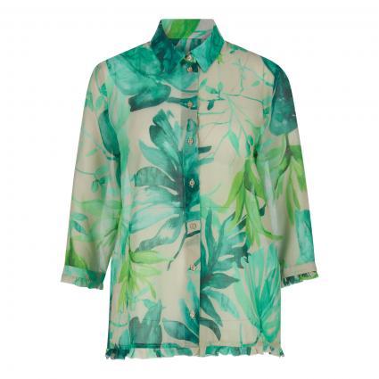 Bluse mit Rüschen-Details und All-Over Druck beige (40605 kitt grün) | 40