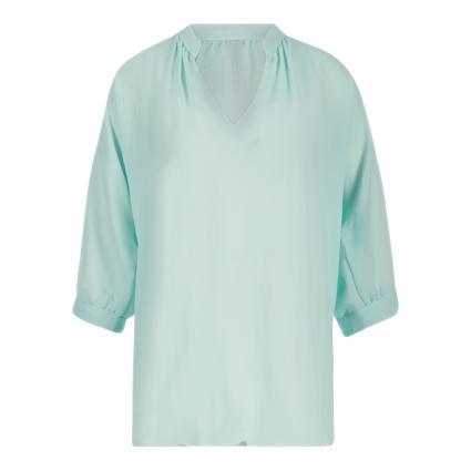 Bluse mit geschlitztem Rundhalsausschnitt blau (504 breath) | 42