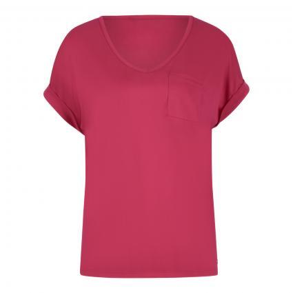 T-Shirt mit Brusttasche pink (419 fuchsia) | S