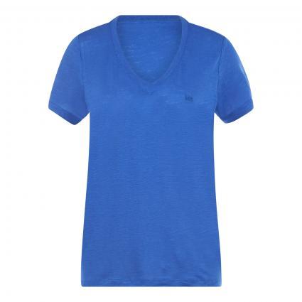 T-Shirt mit V-Ausschnitt blau (SURF BLUE) | S