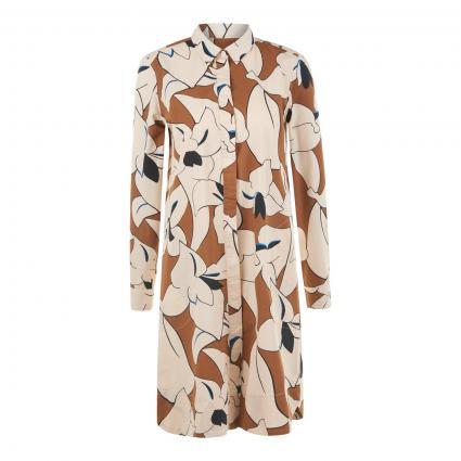 Kleid 'Gracia' mit All-Over Muster cognac (0001 weiß cognac) | XL