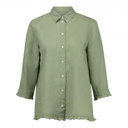 Bluse aus reinem Leinen mit Rüschensaum  oliv (10606 khaki) | 36