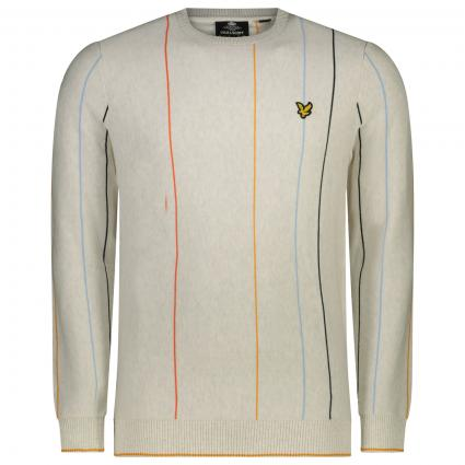 Pullover in Streifenmuster und Label Patch weiss (W110 marble white)   XL