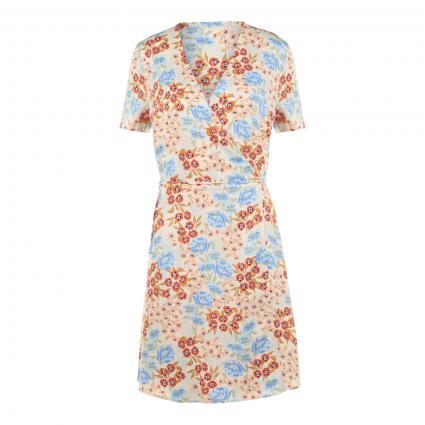 Kleid mit Bindegürtel beige (WOOD ASH FLOWER) | M