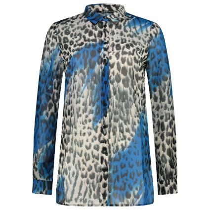 Hemdbluse mit All-Over Muster  blau (P76Y DRIPPING ANIMAL) | XL