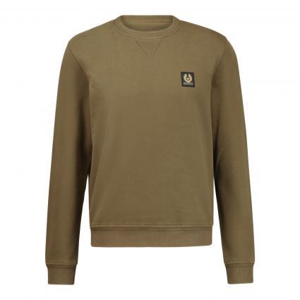 Sweatshirt mit Label-Patch oliv (20032 SALVIA ) | XL