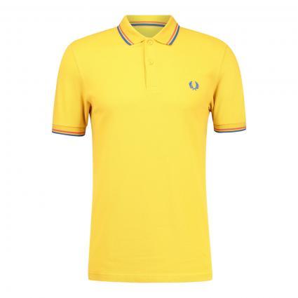 Poloshirt mit Kontrast-Details gelb (M90 dijon yellow) | XXL