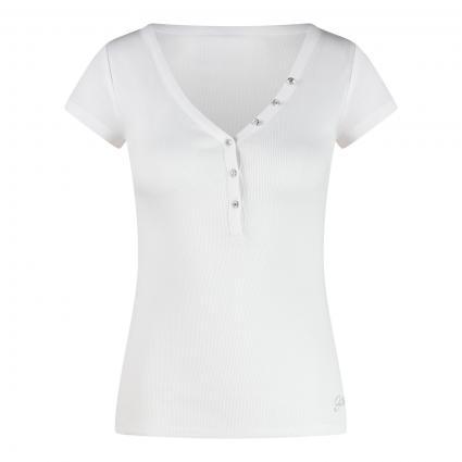 T-Shirt mit Steinchenbesatz weiss (G011 PURE WHITE) | L