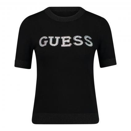 T-Shirt mit Steinchenbesatz  schwarz (JBLK JET BLACK A996) | M