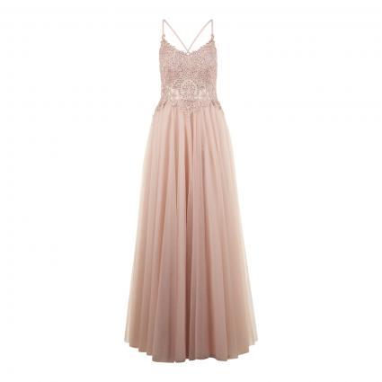 Abendkleid mit Spitzen-Oberteil  rose (NUDE) | 40