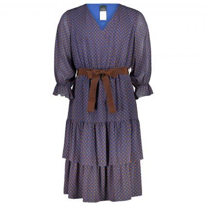 Midi-Kleid mit All-Over Muster und V-Ausschnitt blau (081 BLUETTE/CANN/MA) | 48