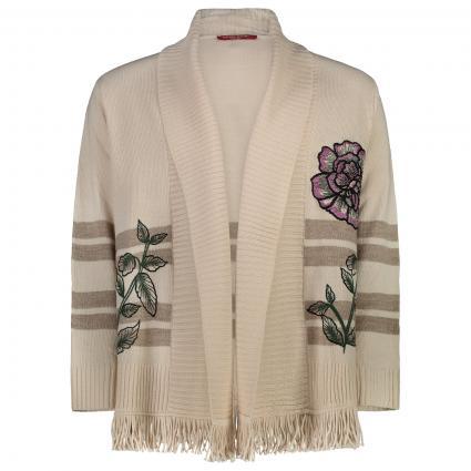 Offene Strickjacke mit Fransen und Blumenmuster beige (079 BEIGE/TORTORA) | XL