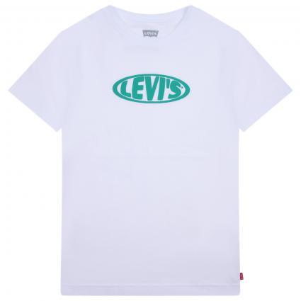 T-Shirt mit frontalem Label-Print weiss (001 WHITE) | 152