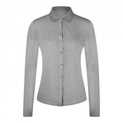 Langarmshirt mit Polo-Kragen grau (934 gull grey) | S