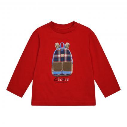 Langarmshirt mit frontalem Print rot (039 RED) | 80