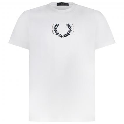 T-Shirt mit Label-Print weiss (129 snow white)   L