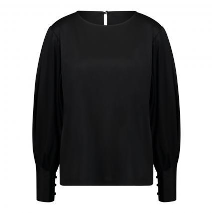 Casual- Bluse mit Rundhalsausschnitt  schwarz (099 black) | 36