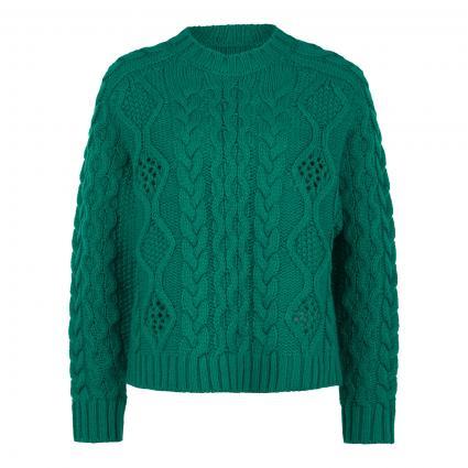 Pullover 'Agatti' mit Zopfmuster grün (GREEN MACHINE GM12)   S
